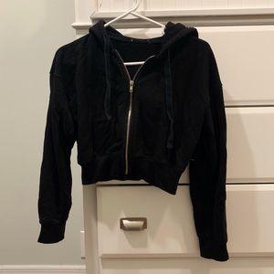 Black cropped zip up hoodie